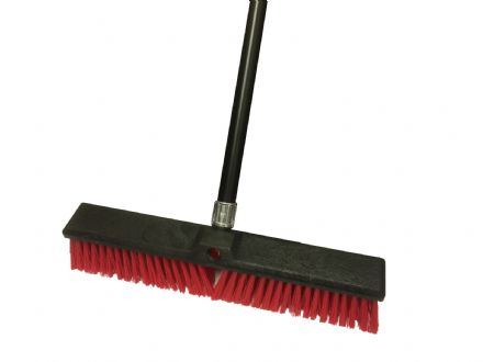 "Broom 18"" Plastic Red with Handle"